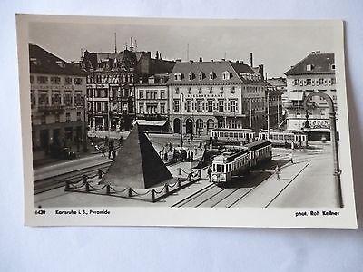 Ansichtskarte Karlsruhe Baden Pyramide 50/60er?? Straßenbahn Deutsche Bank