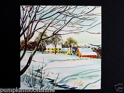 Vintage Unused Red Farm Couri Xmas Greeting Card Pretty Winter Image Village
