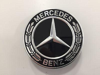 Mercedes-Benz Radnabenabdeckung  in Schwarz mit Lorbeerkranz - NEUE AUSFÜHRUNG