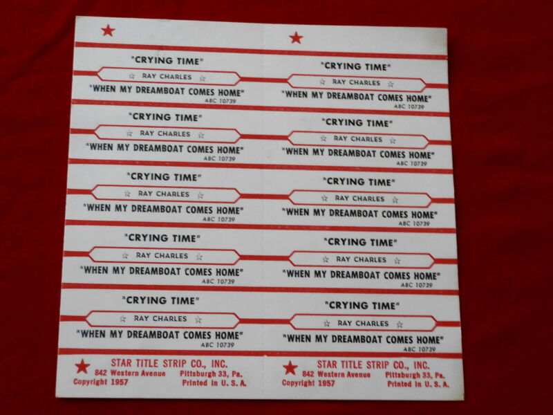 RAY CHARLES~ CRYING TIME~ WHEN MY DREAMBOAT COMES HOME~ ~ JUKEBOX  TITLE STRIPS