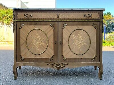 Unique Antique French Louis XVI Style Sideboard with Marble Top