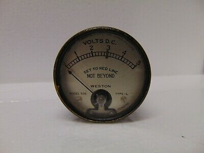 Vintage Weston Volts Dc Meter Gauge 0-5 Model 506 L-21 Usa 2 Round Glass Front