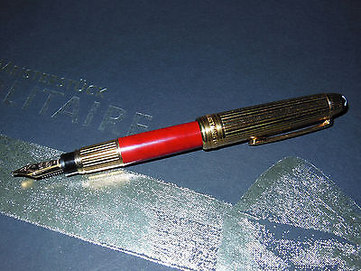 Meisterstuck Butten Paper W.A. Mozart Solitaire Fountain Pen Red Coral/Gold 8912