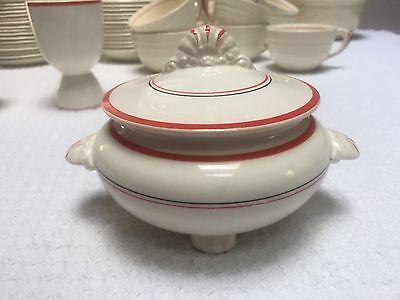 Vintage Homer Laughlin Nautilus Century Red Black Stripe Sugar Bowl