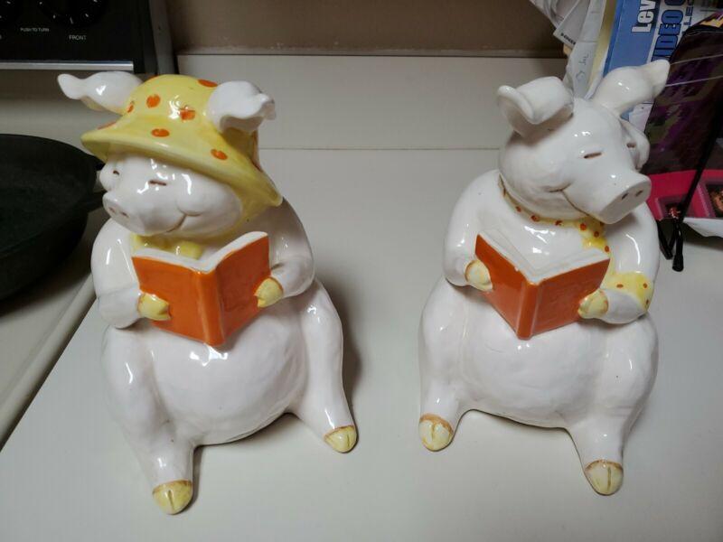 SO ADORABLE!! VINTAGE FITZ AND FLOYD CERAMIC PIG PIGGIE BOOKENDS SUPER CONDITION