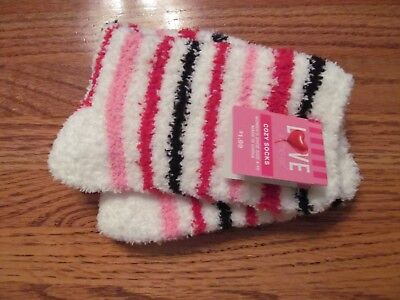 Women's COZY Striped Socks: Red, pink & White~Shoe Size 4-10~NEW w/tags