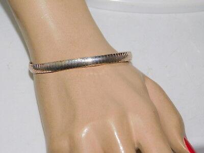 """925 Sterling Silver Flexible 6mm Omega Chain 7.75"""" Bracelet 12.3 gr  7i 97"""