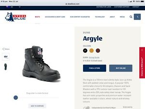 Steel Blue Argyle black work boots, sizes AU 7, 10 & 12
