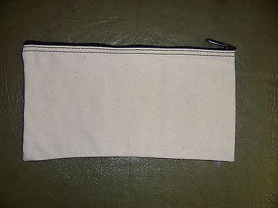 1 New Natural Canvas 10x5 Bank Deposit Money Bag Glove Box Organizer