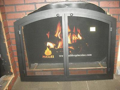Stoll Mesh Fireplace Door Custom Arch Bar Stock Texture Black 40-1/2