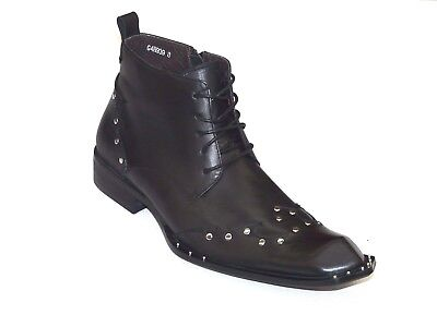 Mens Shoes European Style Leather Zota Tri Angle Toe Metal Ornament G4H939 -