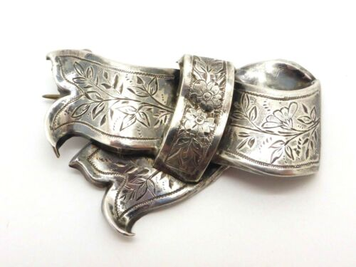 Victorian Antique Silver Bow Brooch Engraved Knotted Ribbon Ornate