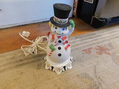 Vtg Rare Underwriters Laboratories Night Light Portable Lamp 3D Happy Snowman