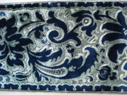 """antique french 19th c silk velvet border  47"""" x 7"""""""