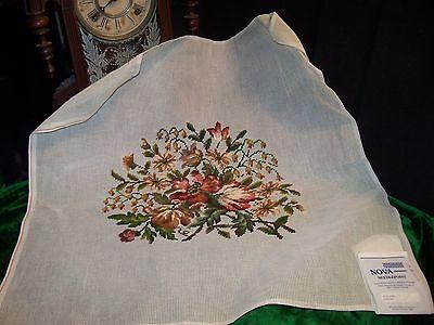 "Vtg NEEDLEPOINT Canvas FLOWERS WOOL Preworked Center NOVA X Large 26"" floral"