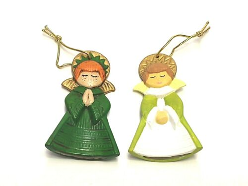 SET OF 2 HAND PAINTED CERAMIC CURVED ANGEL CHRISTMAS TREE ORNAMENTS SIGNED JUDY