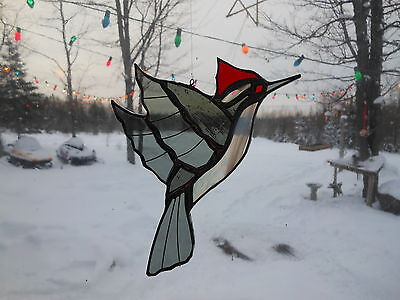 pileated woodpecker med. stained glass suncatcher