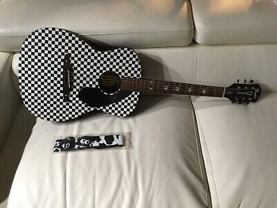 Fender Tim Armstrong Hellcat Checker Acoustic Electric Guitar With Strap & Case