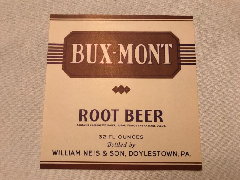 BUX-MONT Vintage Root Beer Label, William Neis & Son, Doylestown, Pa.