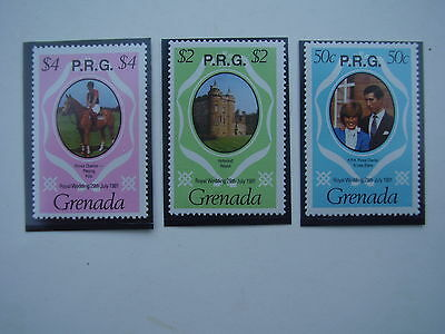 GRENADA 1981 O/P P.R.G. ROYAL WEDDING Issue 3 values to $4.00 MNH.