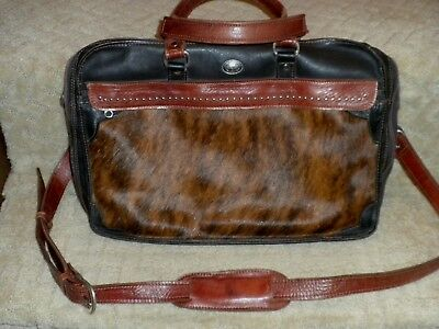 AMERICAN WEST Leather Brindle Cowhide Hair Fur Briefcase Satchel Attache Western American West Leather Briefcase