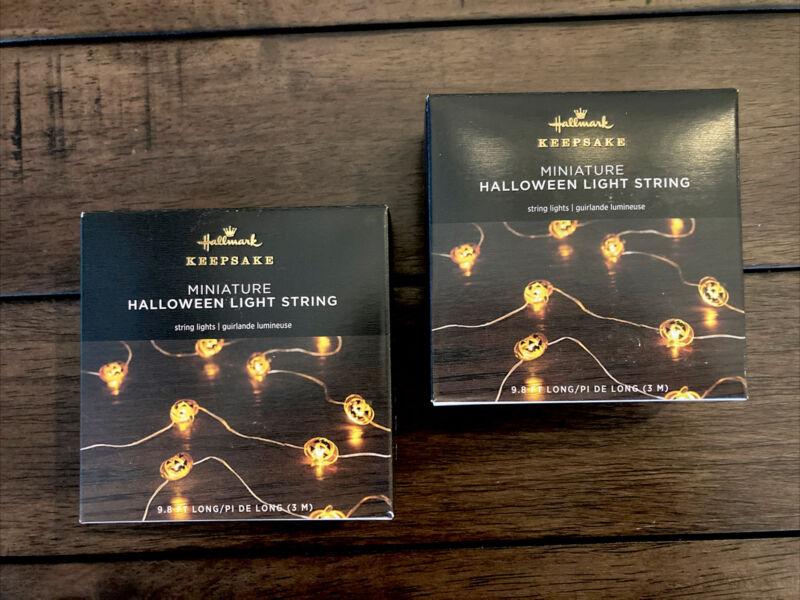 Hallmark MINI Halloween PUMPKIN 🎃LED Light Strings TWO SETS / 6-hour Timer NEW