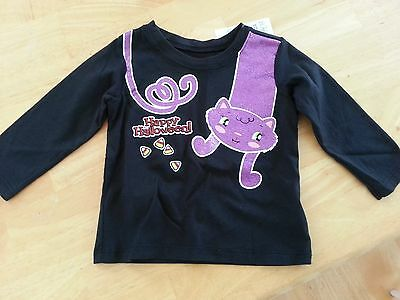 NWT THE CHILDREN'S PLACE Girl 6-9 Months Black Happy Halloween Cat Shirt - Happy Halloween 9 Cats