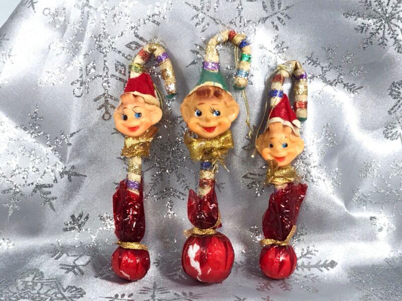 Vintage Pixie Elf Candy Cane Christmas Ornament Japan Set of 3