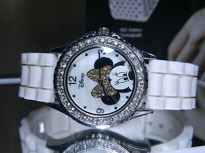 Disney Iced Minnie Mouse Watch 40 Big Faceted Stones + 40 More Make Her Pink Bow