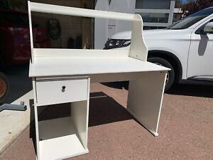 White IKEA desk with hutch