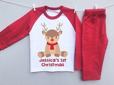 PERSONALISED BABY's 1st CHRISTMAS toddler pyjamas pjs set eve cute baby reindeer