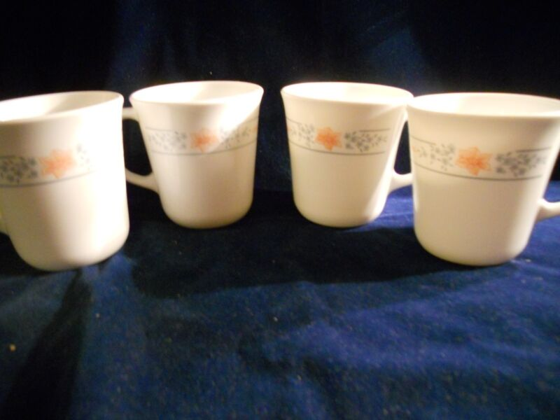 "4 Corelle ""Apricot Gold"" 9 ounce mugs"