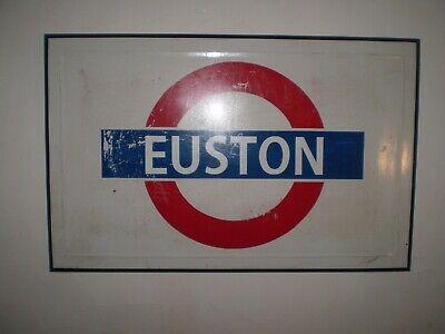 LARGE ENAMEL LONDON UNDERGROUND SIGN EUSTON,INDUSTRIAL, ARCHITECTURAL SALVAGE