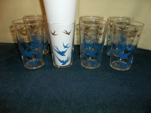 Vintage Mid Century Federal Glass  Blue & Gold Swallows Drinking Glasses -HTF!