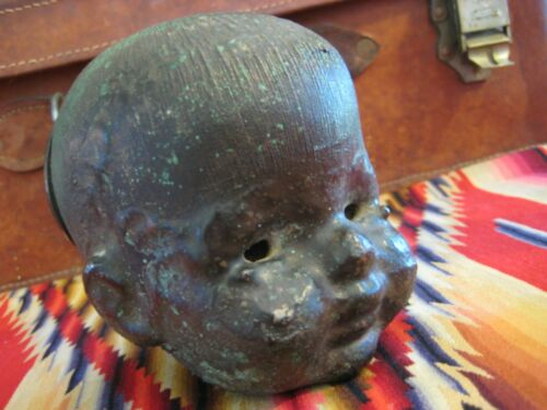 CREEPY Baby DOLL Head MOLD Industrial STEAMPUNK Factory METAL Sculpture VTG
