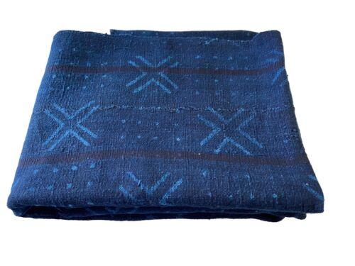 """Superb Vtg  Mali Indigo Mud Cloth Textile 37"""" by 69"""""""