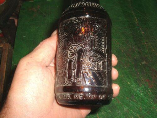 vtg sarsaparilla bottle amber glass  mexico embossed