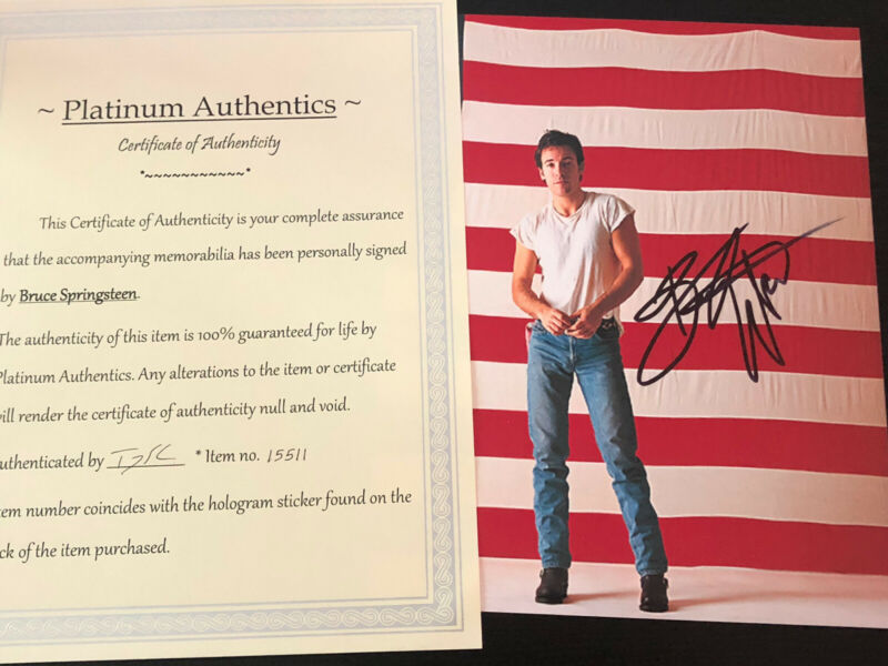 Bruce Springsteen autographed 8x10 photo, hand signed, authentic, the Boss, COA