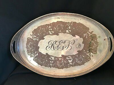 Antique E.G. Webster & Son Large Ornate Silverplate Oval Serving Tray for sale  Brockport
