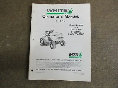 White Fst16 Fst 16 Tractor Owners Parts Manual Model 616