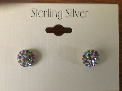 Multi-Color Crystal Earrings, Sterling Silver, Perfect for Newly Pierced Ears