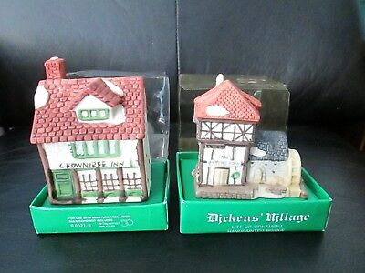 Dept 56 Clip On Dickens Village Ornaments Blythe Pond Crowntree Inn Bisque Lite