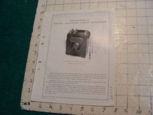 orig. 1922 WESTON Electric inst. bulletin: PORTABLE MULTI-RANGE CURRENT TRANSFOR