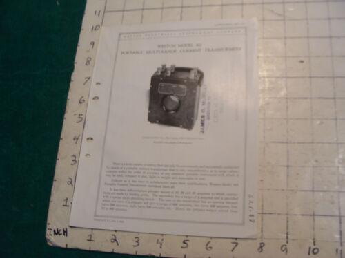 orig. 1922 WESTON Electric inst. bulletin: PORTABLE MULTI-RANGE CURRENT TRANSFOR