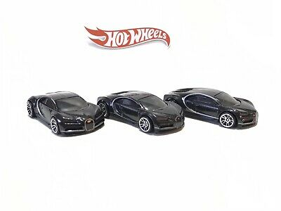2020 Hot Wheels Bugatti Chiron Black Loose Lot Of 3
