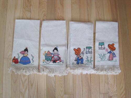 VTG SOUTHWESTERN MEXICAN KITCHEN/TEA TOWELS FRINGED EMBROIDERED LOT 4 PC