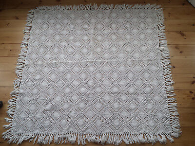 Vintage Hand Crocheted Table Cloth/Blanket with Tassles