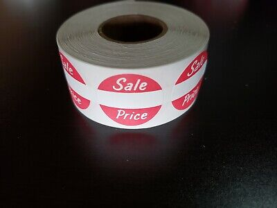 """Roll of 500 Self-Adhesive Sale Price Round Merchandise Labels 1"""" Sticker Tags"""