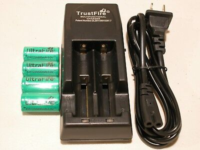 4 CR123A ULTRAFIRE BATTERY 3v RECHARGEABLE + TRUSTFIRE TR-001 CHARGER