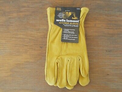 Wells Lamont Mens Medium Premium Cowhide Leather Work Gloves - New